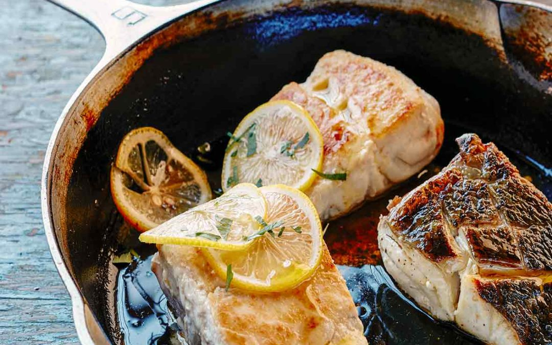 Pan Fried Fish in a Cast Iron Pan