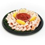 COOKED SHRIMP PLATTER WITH COCKTAIL SAUCE The elegant no-cook appetizer for parties • Our responsibly farmed shrimp is cooked to tender perfection • Signature cocktail sauce included for hassle-free serving